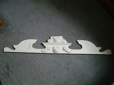 Vintage Painted Wooden Door Pediment From France 36 Inches Long
