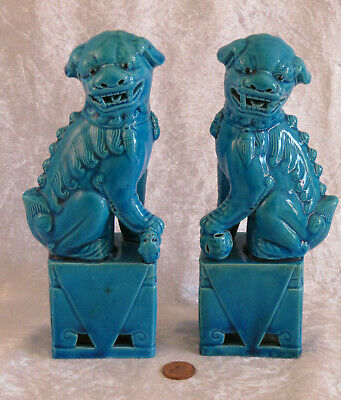 """Vintage Pair 8.25"""" Chinese Turquoise Dogs Of Foo Fu Dog Statues Ornaments"""