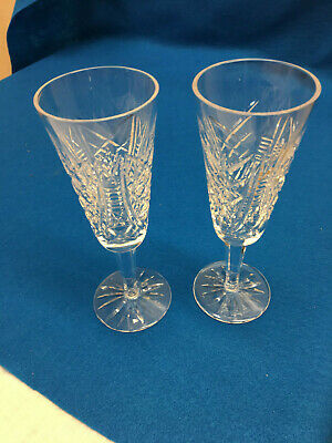 """WATERFORD CRYSTAL LISMORE 2 champagne flutes 7 1/4"""""""