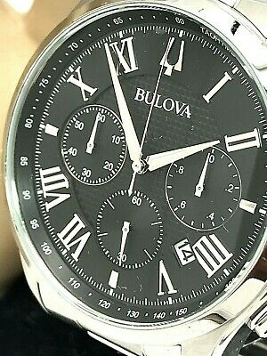 Bulova 96B288 Chronograph Mens Watch Black Dial Stainless Steel FOR REPAIR PARTS