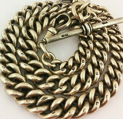 Large Heavy Antique Hallmarked Solid Silver Double Albert Pocket Watch Chain