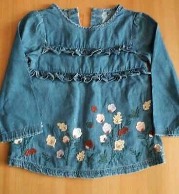 TU (Sainsbury) -  Baby Girl -  Blue Chambray Top With Flowers -  Size 12-18 Mths