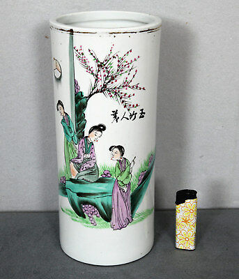 CHINA JAPAN VASE ANTIK PINSELSTÄNDER HUTSTÄNDER 29cm PRINZESSIN Princess signed