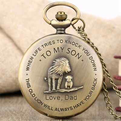 The Lion King 'TO MY SON' Pocket Watch / LOVE, DAD  Bronze Necklace Chain