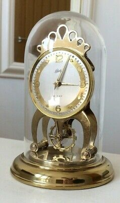 Vintage Schatz & Sohne Anniversary 8 Day Brass Clock Excellent Working Germany