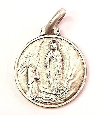 16MM Sterling Silver 925 Our Lady of Lourdes Medal Necklace Pendant Charm-ITALY