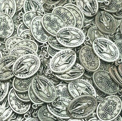 Lot Bulk 50 Pcs Silver Tone Our Lady Miraculous Medal Pendants Milagrosa-ITALY