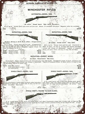 """1917 Winchester Rifle Carbine Model 1903 1906 1890 1902 Metal Sign 9x12"""" A051"""
