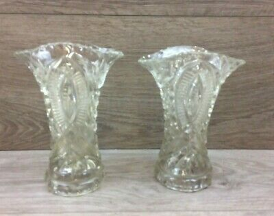 2 x Vintage Glass Flower Vases - Free UK Postage