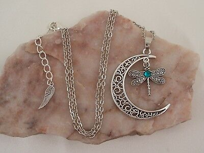 Tibetan Silver Crescent Moon & Dragonfly With Turquoise Diamante, Necklace.
