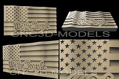 3D STL Model for CNC Router Engraver Carving Artcam Aspire USA Flag America D8
