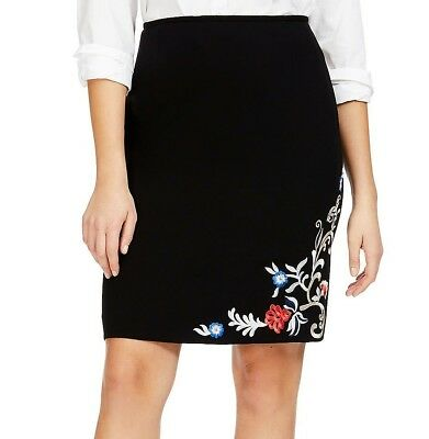 de828708f1 22 3X Tahari ASL Gwynnie Bee sleek Black floral embroidered detail pencil  skirt