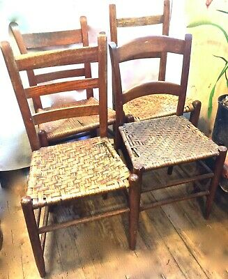 4 Antique Ladderback Rush seat Chairs Assembled Set Oak Country Farm Shabby Chic