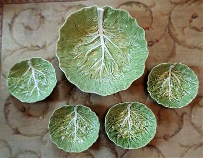 Bordallo Pinheiro Green Cabbage Leaf Salad Bowl Set Five Pieces Made In Portugal