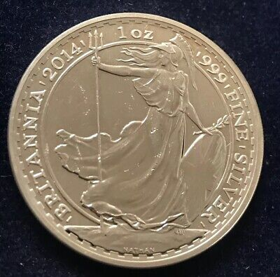 2014 Great Britain Britannia One Troy Ounce .999 Fine Silver Coin Snake Privy