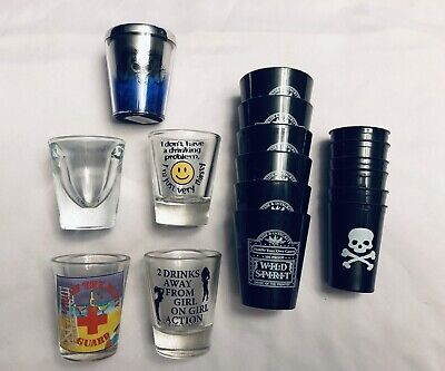 Lot Of 17 Shot Glasses - Glass - Metal - Plastic