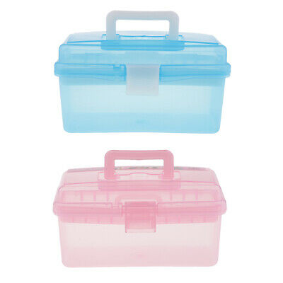 2Clear Plastic Handled Storage Case Box W Removable Tray Organizer Container