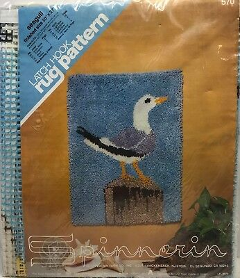 """Spinnerin Latch Hook Rug Pattern Seagull #570 Finished Size 20"""" x 27"""""""