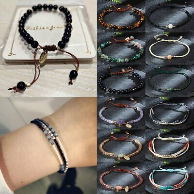 Fashion Natural Stone Beaded Bracelet Lucky Charm Bangles Knot Rope Jewelry Gift