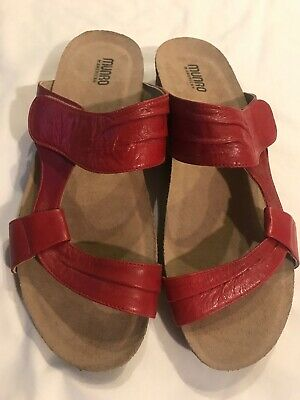 16dd7cbc27f6 Munro American Womens Walking Wedge Sandals Red Slip On Leather Size 13 M