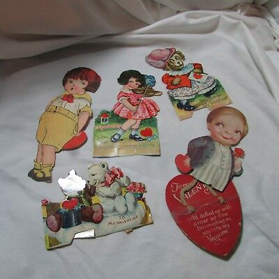 Vintage 1920's-30's Lot of 5 Valentine's Day Greeting Cards, Mechanical