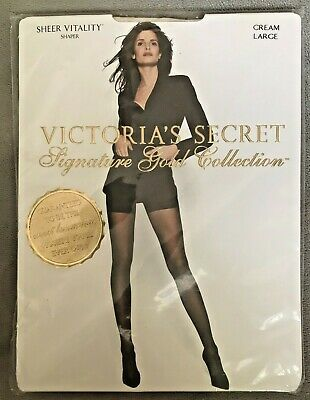 7340f7bed1 Vintage Victoria s Secret Signature Gold Collection Cream Hosiery Shaper ...