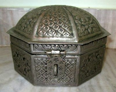 Antique Emboss Floral Carving Brass Jewelry Box Nickel Plated Brass Jewelry Box