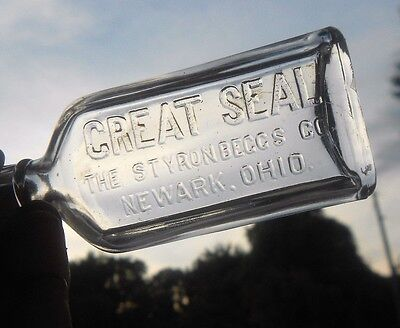Antique Vtg CLEAN ABM MINT Glass Bottle Great Seal Styron Beggs & Co Newark Ohio