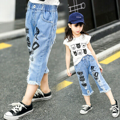 IENENS Toddler Baby Girls Pants Shorts Clothes Denim Cropped Trousers Clothing