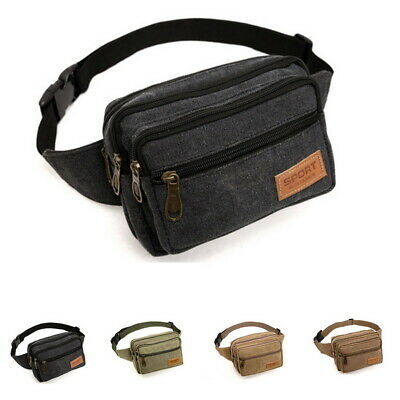 Canvas Travel Bum Bag Sports Waist Belt Fanny Pack Money Pouch Pocket Wallet US