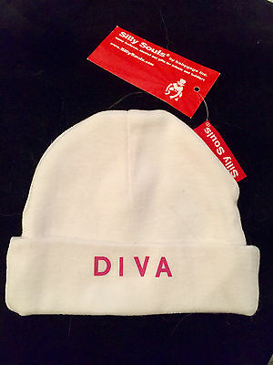 "BABY BEANIE CAP ""DIVA"" White with Pink Lettering 0-6 Months 100% Cotton"