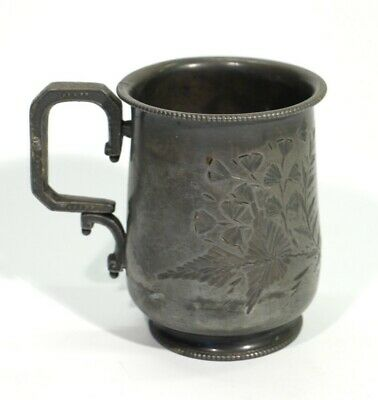 Victorian Britania Metal Cup Engraved with Flowers and Foliage, Circa 1890.