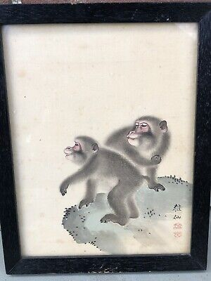 Japanese Silk Painting Manner Of Mori Sosen Signed Two Monkeys 19Th Century