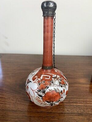 antique japanese meiji period bottle vase with solid sliver mounted cover