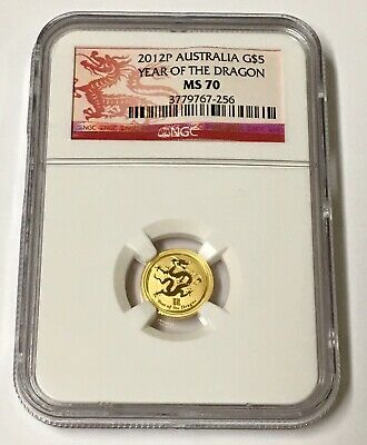2012 Australia G$5 Lunar Year Of The Dragon 1/20 oz NGC Gold Coin MS70