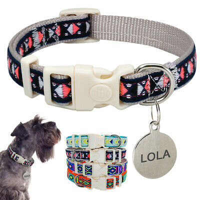 Handmade Embroidery Cat Dog Collar &Personalised Tag Engraved Anti Lost for Pets