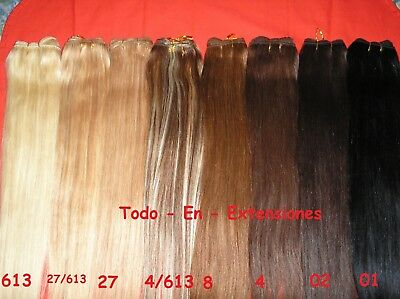 Extensiones De Cabello Cosido, 100 % Natural, 55 Cm De Largo, 50 Gr