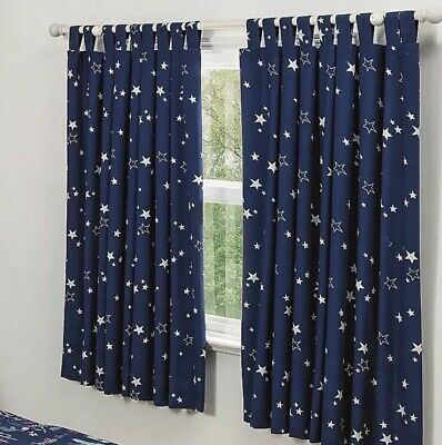 Navy Blue Star Lined Childrens Kids Bedroom Curtains Tab Top Moonlight 66 x 54