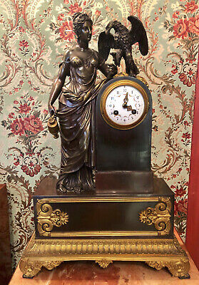 French Antique Clock Woman with Eagle Bronze Heavy Desk Mental Art Home Interior