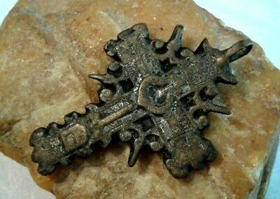 "RARE ANTIQUE c. 17-18th CENTURY LARGE ORTHODOX ""OLD BELIEVERS"" ORNATE CROSS"