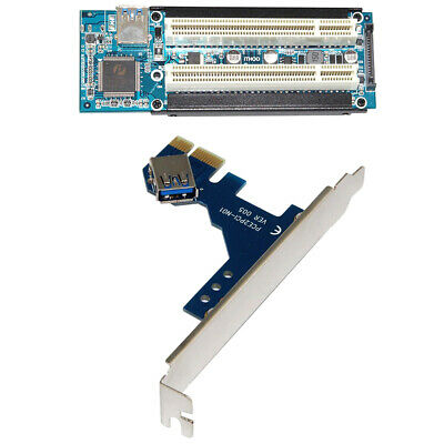 PCI-E Express X1 to Dual PCI Riser Extend Adapter Card with 2.6FT E4Z9 USB 3.0