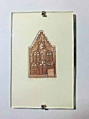 Mission Style SW Woodcut Block Print Miniature Under Glass - Signed & Numbered