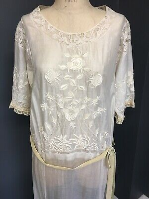 Vintage 1930s Over Shift Dress Silk Hand Embroidery With Lace