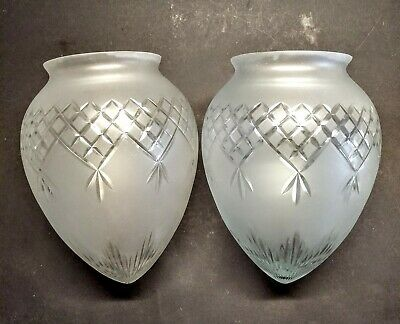 """Pair of Edwardian Cut Glass Shade Acorn Etched Antique Vintage 3.5"""""""