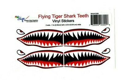 "# Flying Tigers shark teeth decal 1"" t x 2.5"" WWII plane canoe stickers airplane"
