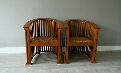 Fabulous Pair Oak, Arts and Crafts Barrel Chairs