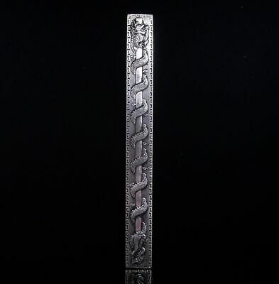 Tibetan Silver Paperweight *Curly Dragon On Pole* Carved 4.8 OZ #04201906