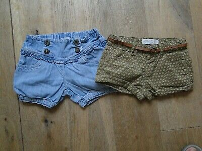 2 Lovely Pairs Little  Girls Summer Shorts Next & Zara  Age 18-24 Mths Free Post