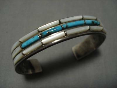 Very Rare!! Vintage Navajo Blue Wind Turquoise Sterling Silver Bracelet Old