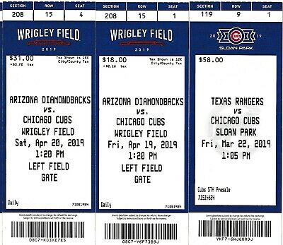 Chicago Cubs Arizona Diamondbacks 2019 ticket stubs 4/19 04/20/2019 Wrigley
